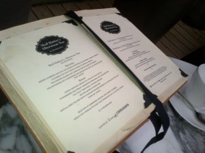 The menu - inside a classic book!