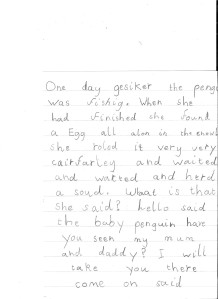 Olivia's heartfelt tale of a penguin secured her the runner up prize for Key Stage 1.
